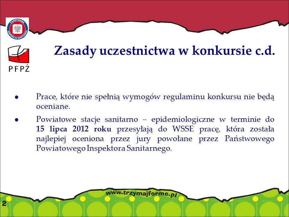 Zasady uczestnictwa w konkursie c.d. Prace, które nie spełnią wymogów regulaminu konkursu nie będą oceniane. Powiatowe stacje sanitarno – epidemiologi