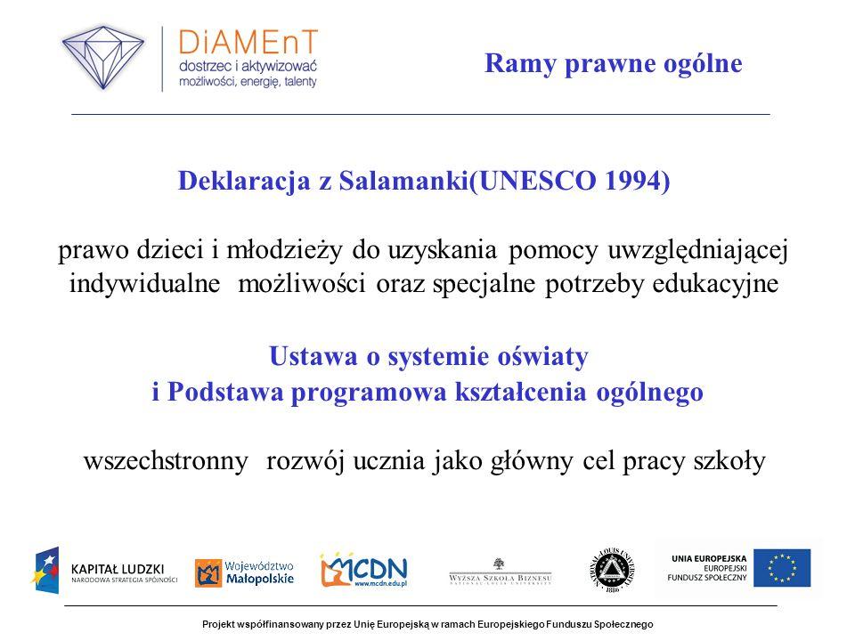 Deklaracja z Salamanki(UNESCO 1994) prawo dzieci i młodzieży do uzyskania pomocy uwzględniającej indywidualne możliwości oraz specjalne potrzeby edukacyjne Ustawa o systemie oświaty i Podstawa programowa kształcenia ogólnego wszechstronny rozwój ucznia jako główny cel pracy szkoły Projekt współfinansowany przez Unię Europejską w ramach Europejskiego Funduszu Społecznego Ramy prawne ogólne