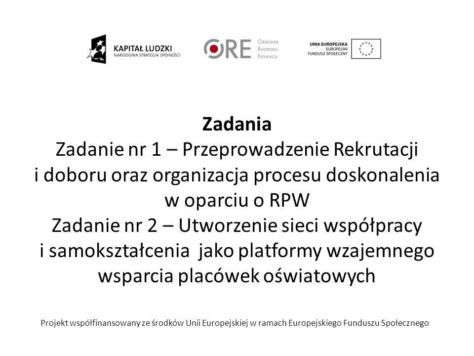 Ramy czasowe Zadania Zadanie nr 1 – Przeprowadzenie Rekrutacji i doboru oraz organizacja procesu doskonalenia w oparciu o RPW Zadanie nr 2 – Utworzenie sieci współpracy i samokształcenia jako platformy wzajemnego wsparcia placówek oświatowych Projekt współfinansowany ze środków Unii Europejskiej w ramach Europejskiego Funduszu Społecznego