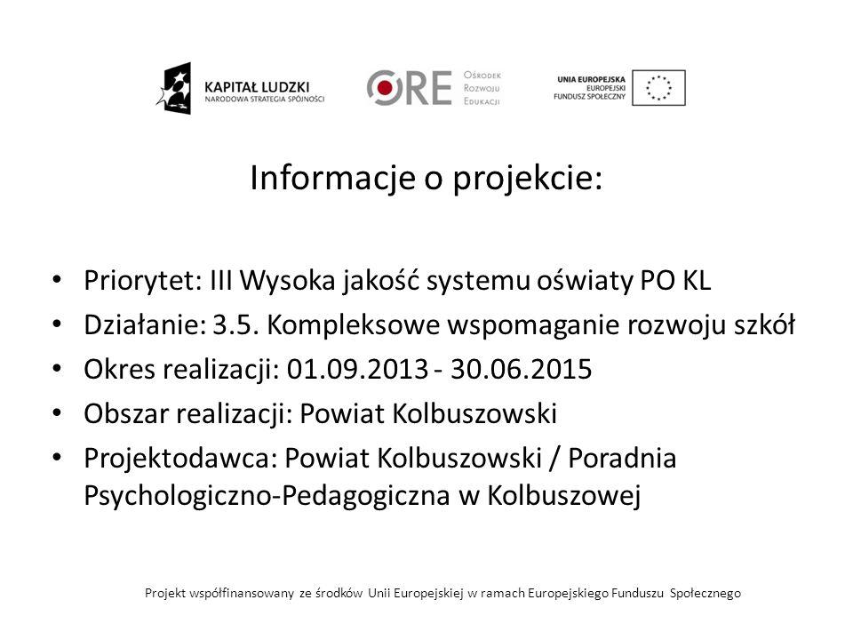 Główny cel projektu Podniesienie jakości funkcjonowania systemu doskonalenia nauczycieli w Powiecie Kolbuszowskim poprzez stworzenie do 30.06.2015r.