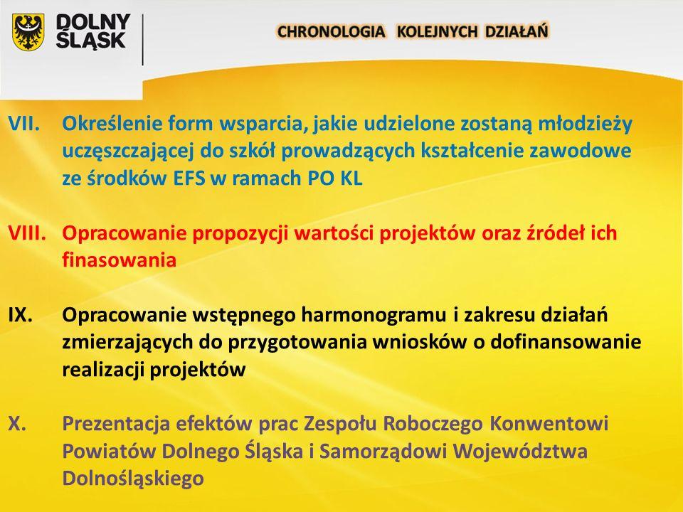 VII.Określenie form wsparcia, jakie udzielone zostaną młodzieży uczęszczającej do szkół prowadzących kształcenie zawodowe ze środków EFS w ramach PO KL VIII.Opracowanie propozycji wartości projektów oraz źródeł ich finasowania IX.Opracowanie wstępnego harmonogramu i zakresu działań zmierzających do przygotowania wniosków o dofinansowanie realizacji projektów X.Prezentacja efektów prac Zespołu Roboczego Konwentowi Powiatów Dolnego Śląska i Samorządowi Województwa Dolnośląskiego
