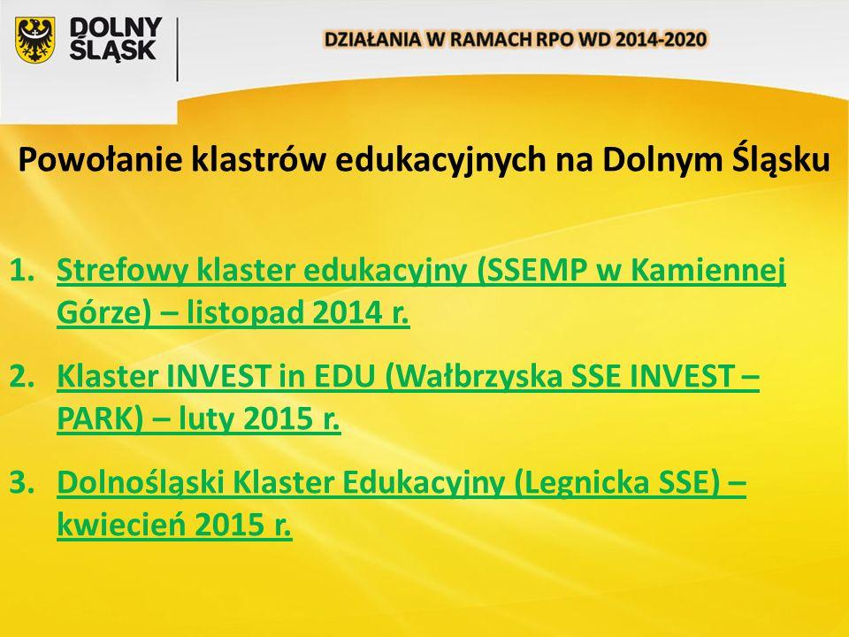 Powołanie klastrów edukacyjnych na Dolnym Śląsku 1.Strefowy klaster edukacyjny (SSEMP w Kamiennej Górze) – listopad 2014 r. 2.Klaster INVEST in EDU (W