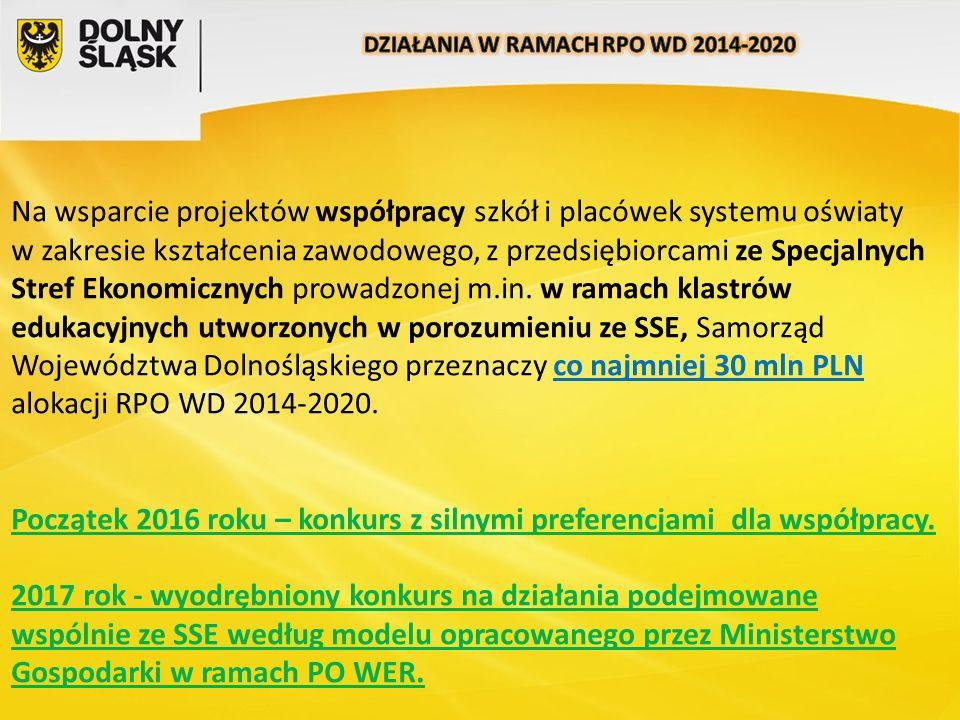 Na wsparcie projektów współpracy szkół i placówek systemu oświaty w zakresie kształcenia zawodowego, z przedsiębiorcami ze Specjalnych Stref Ekonomicznych prowadzonej m.in.