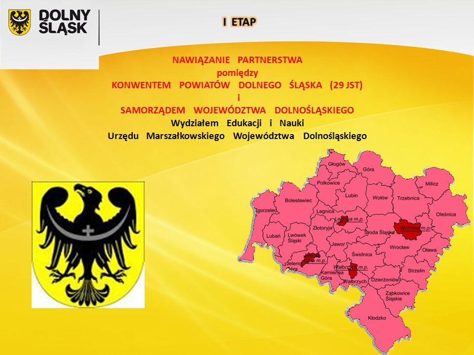 NAWIĄZANIE PARTNERSTWA pomiędzy KONWENTEM POWIATÓW DOLNEGO ŚLĄSKA (29 JST) i SAMORZĄDEM WOJEWÓDZTWA DOLNOŚLĄSKIEGO Wydziałem Edukacji i Nauki Urzędu Marszałkowskiego Województwa Dolnośląskiego