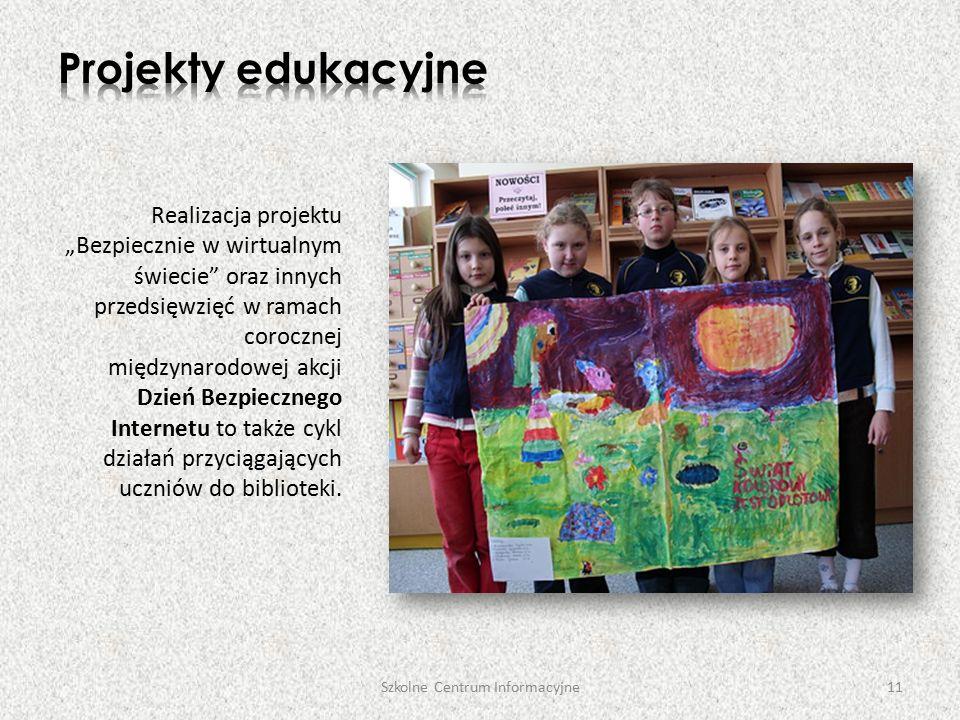 """Realizacja projektu """"Bezpiecznie w wirtualnym świecie oraz innych przedsięwzięć w ramach corocznej międzynarodowej akcji Dzień Bezpiecznego Internetu to także cykl działań przyciągających uczniów do biblioteki."""