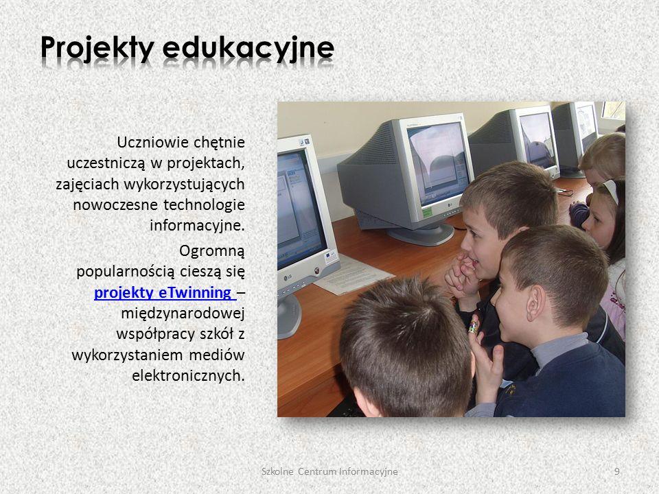 Szkolne Centrum Informacyjne20 Nasza E-Biblioteka zawiera zestaw adresów najciekawszych stron, przydatnych do pracy, nauki i rozrywki, oraz podpowiada, jak najefektywniej je wykorzystywać.E-Biblioteka Nauczyciele i rodzice mogą skorzystać z porad i wskazówek, których udzielają specjaliści w zakresie psychologii, pedagogiki i wychowania oraz dowiedzieć się, jaką literaturą dysponuje biblioteka szkolna.