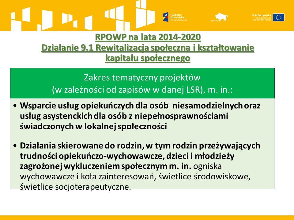 RPOWP na lata 2014-2020 Działanie 9.1 Rewitalizacja społeczna i kształtowanie kapitału społecznego Zakres tematyczny projektów (w zależności od zapisó