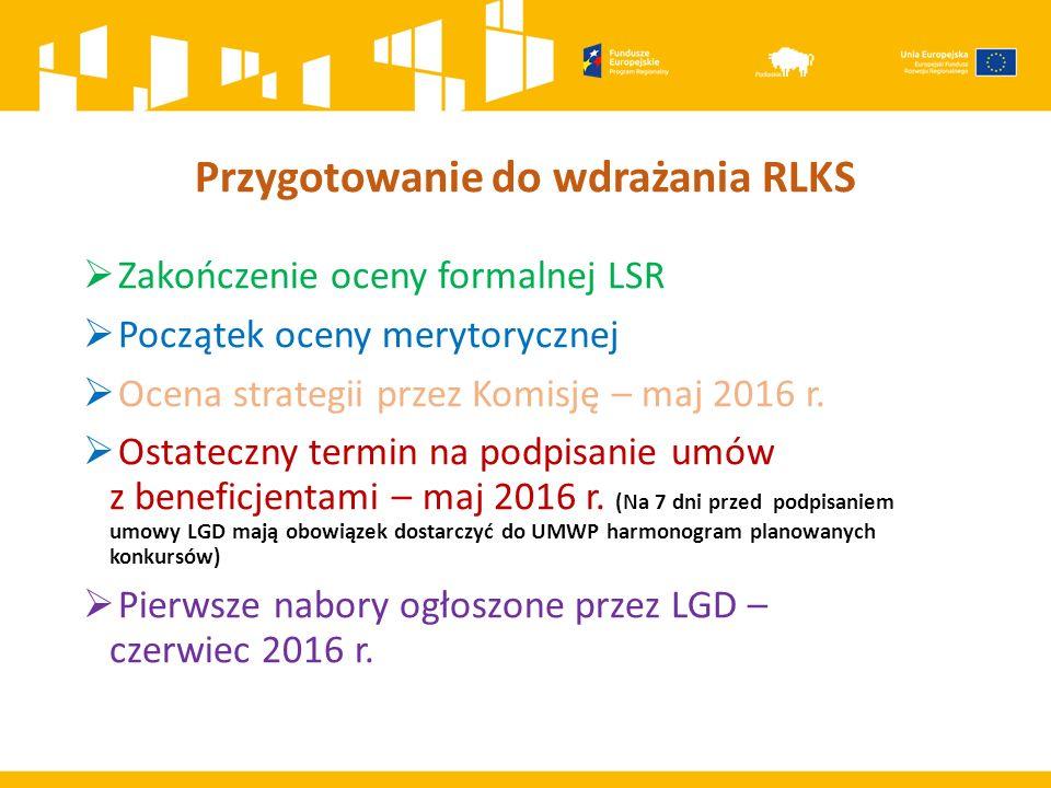 Przygotowanie do wdrażania RLKS  Zakończenie oceny formalnej LSR  Początek oceny merytorycznej  Ocena strategii przez Komisję – maj 2016 r.  Ostat