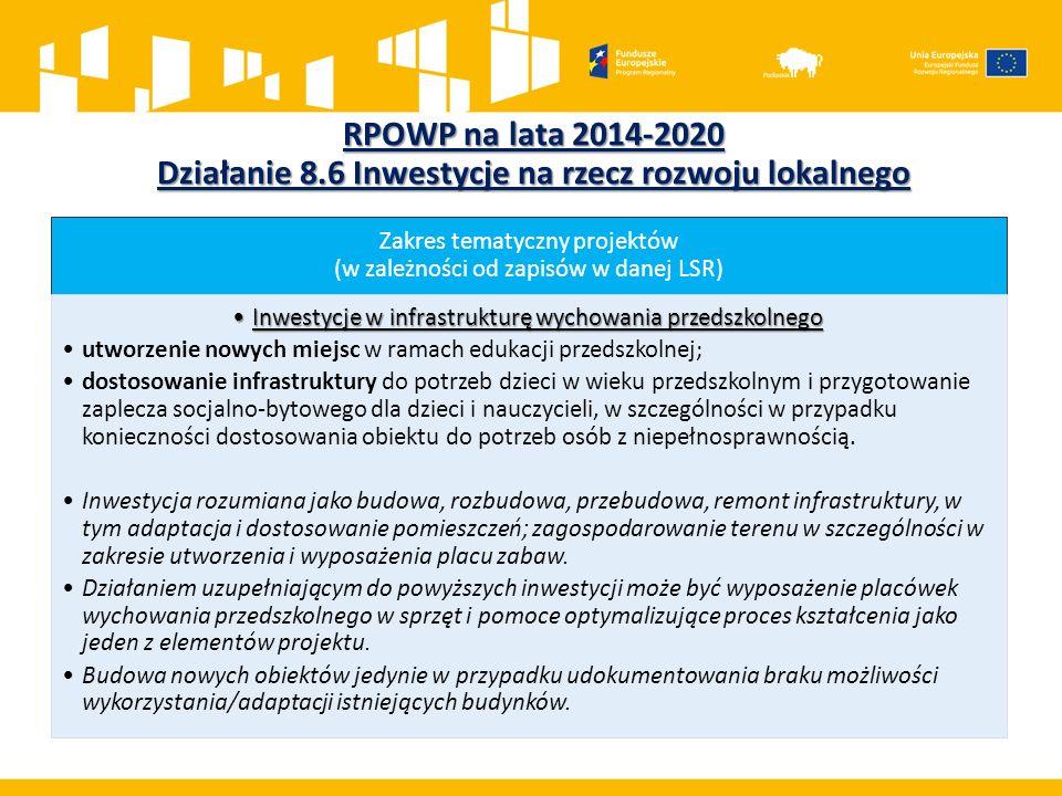 RPOWP na lata 2014-2020 Działanie 8.6 Inwestycje na rzecz rozwoju lokalnego Zakres tematyczny projektów (w zależności od zapisów w danej LSR) Inwestyc
