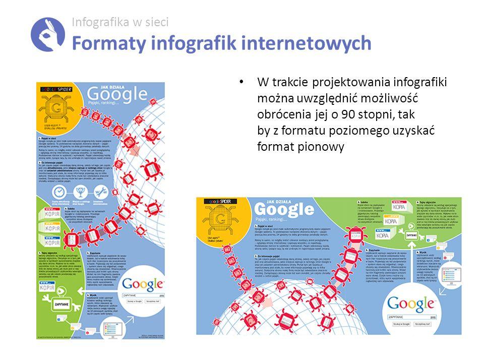Infografika w sieci Formaty infografik internetowych W trakcie projektowania infografiki można uwzględnić możliwość obrócenia jej o 90 stopni, tak by z formatu poziomego uzyskać format pionowy