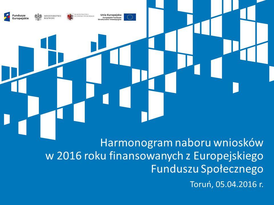 Harmonogram naboru wniosków w 2016 roku finansowanych z Europejskiego Funduszu Społecznego Toruń, 05.04.2016 r.