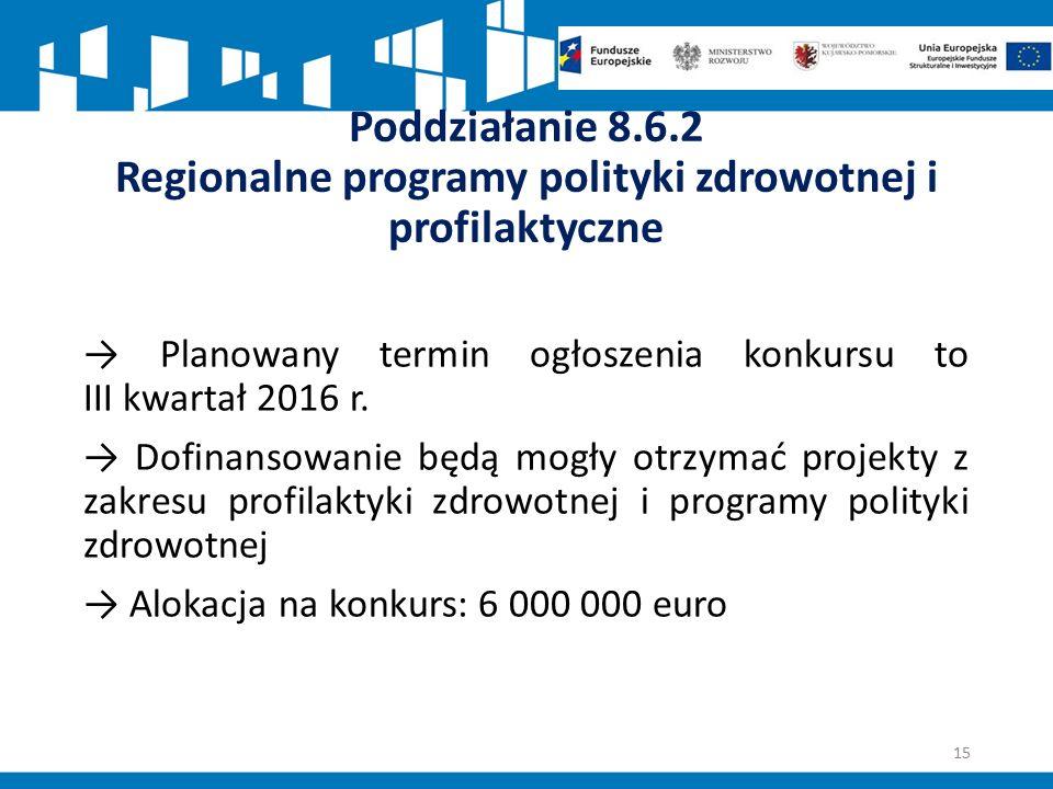 Poddziałanie 8.6.2 Regionalne programy polityki zdrowotnej i profilaktyczne → Planowany termin ogłoszenia konkursu to III kwartał 2016 r.