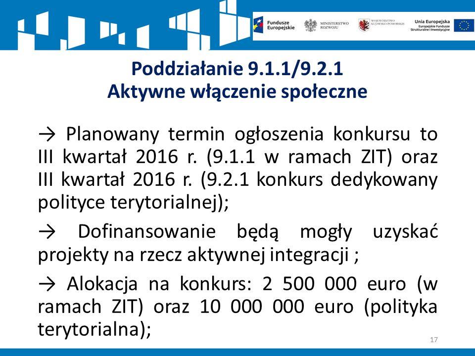 Poddziałanie 9.1.1/9.2.1 Aktywne włączenie społeczne → Planowany termin ogłoszenia konkursu to III kwartał 2016 r.