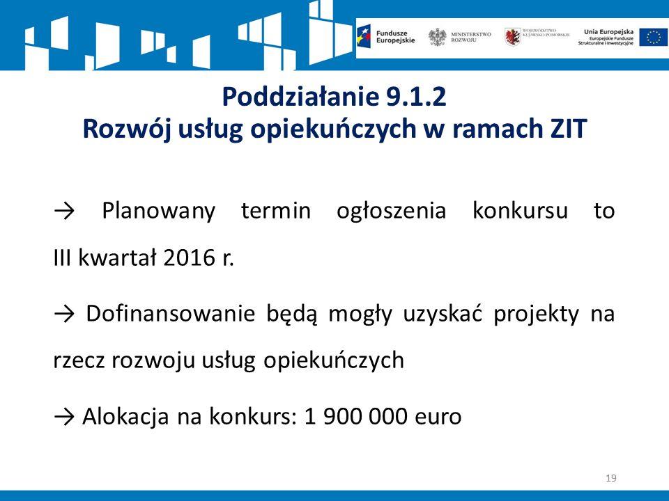 Poddziałanie 9.1.2 Rozwój usług opiekuńczych w ramach ZIT → Planowany termin ogłoszenia konkursu to III kwartał 2016 r.