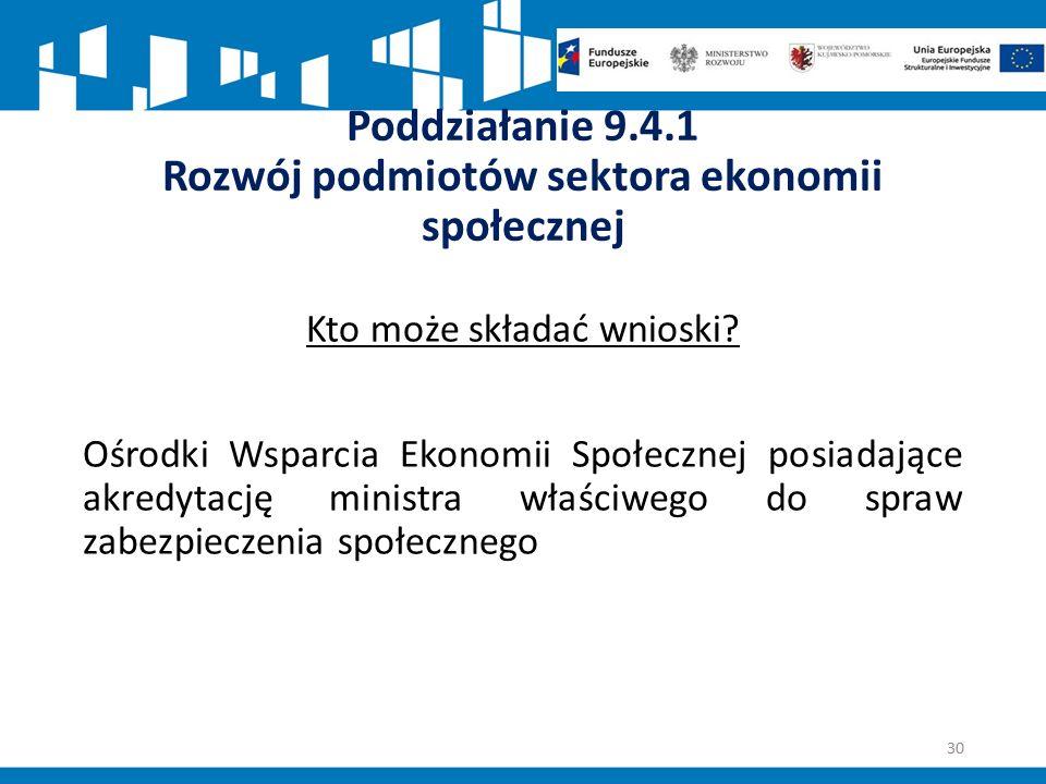 Poddziałanie 9.4.1 Rozwój podmiotów sektora ekonomii społecznej Kto może składać wnioski.
