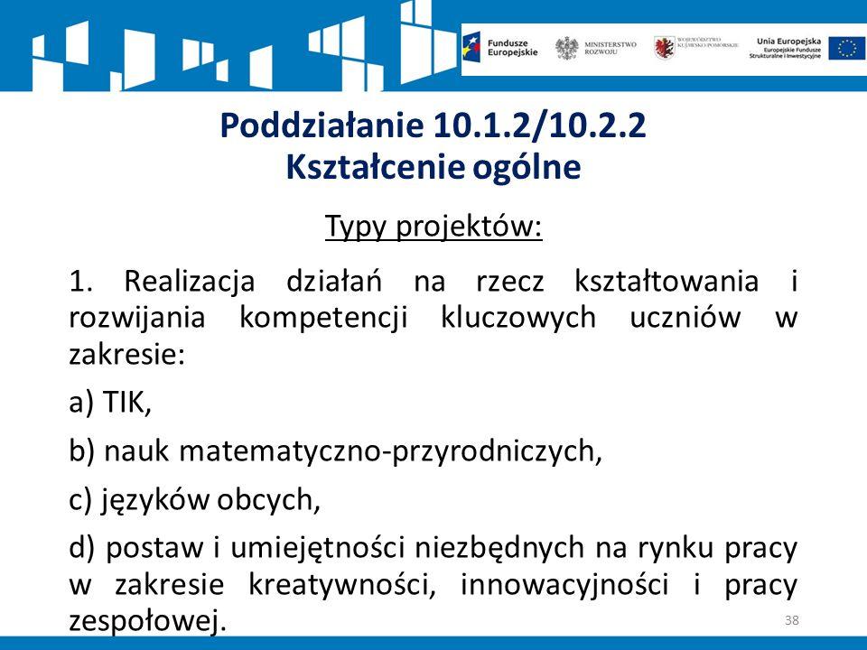 Poddziałanie 10.1.2/10.2.2 Kształcenie ogólne Typy projektów: 1.