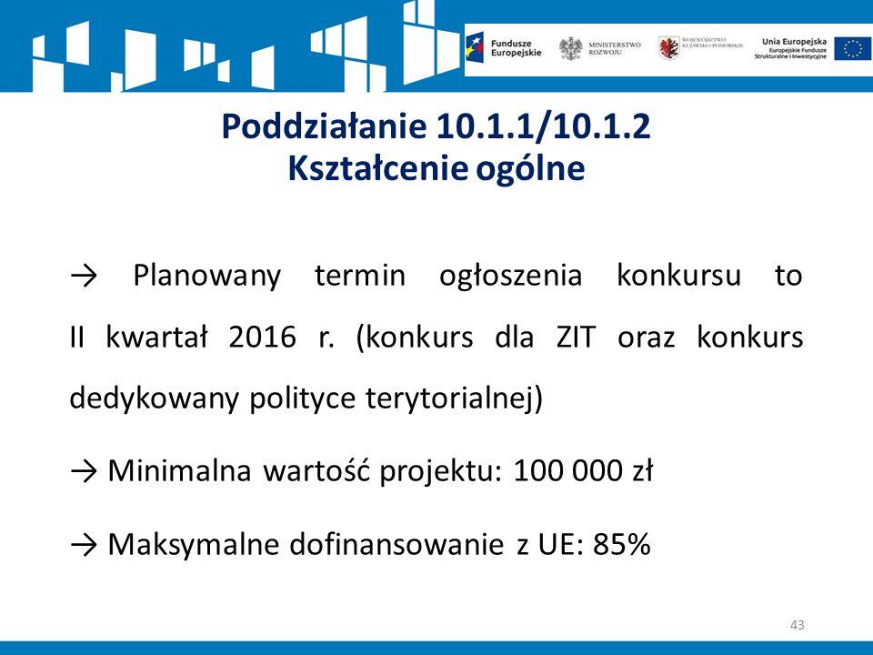 Poddziałanie 10.1.1/10.1.2 Kształcenie ogólne → Planowany termin ogłoszenia konkursu to II kwartał 2016 r.