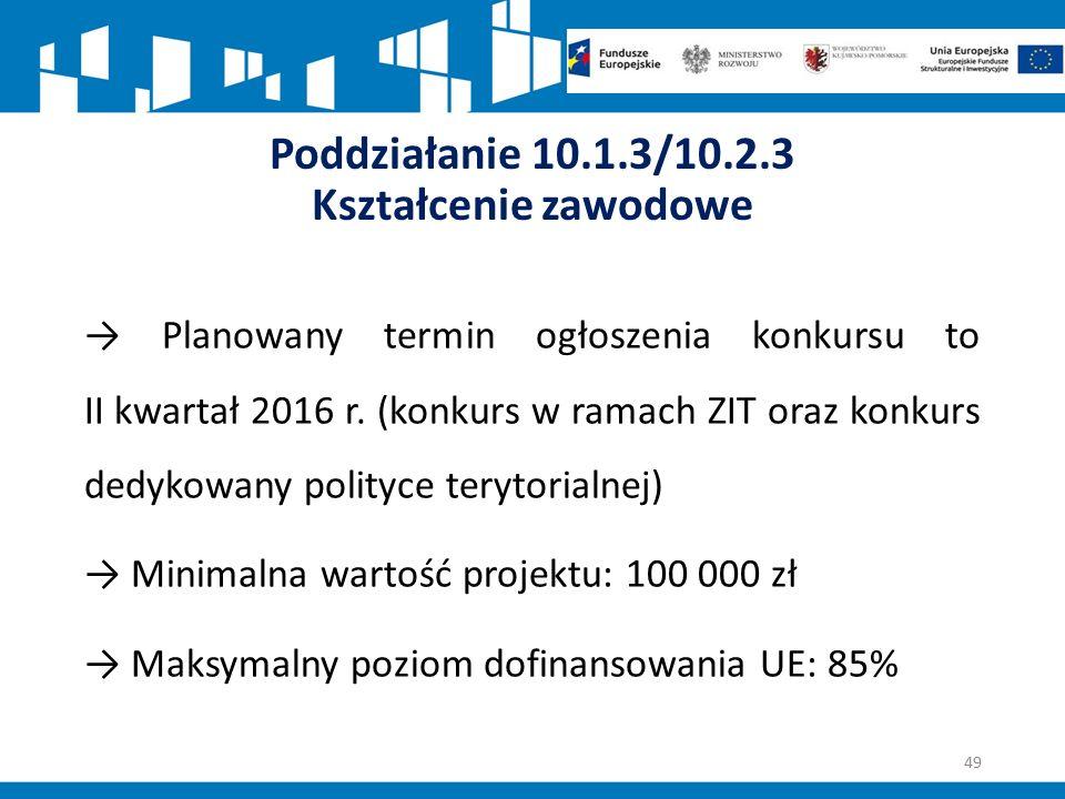 Poddziałanie 10.1.3/10.2.3 Kształcenie zawodowe → Planowany termin ogłoszenia konkursu to II kwartał 2016 r.