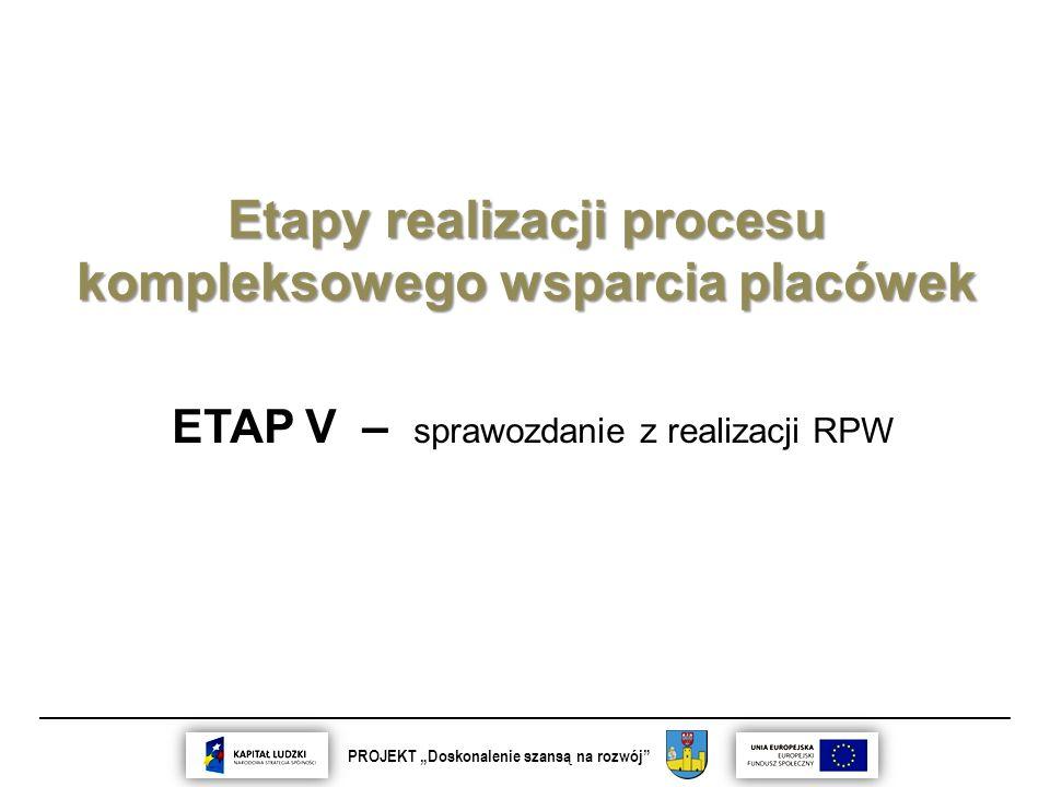 """__________________________________________________________________________ PROJEKT """"Doskonalenie szansą na rozwój Etapy realizacji procesu kompleksowego wsparcia placówek ETAP V – sprawozdanie z realizacji RPW"""