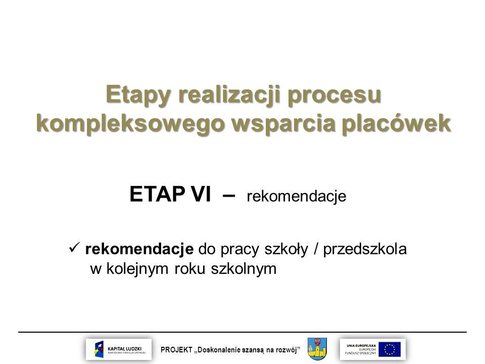 """__________________________________________________________________________ PROJEKT """"Doskonalenie szansą na rozwój Etapy realizacji procesu kompleksowego wsparcia placówek ETAP VI – rekomendacje rekomendacje do pracy szkoły / przedszkola w kolejnym roku szkolnym"""