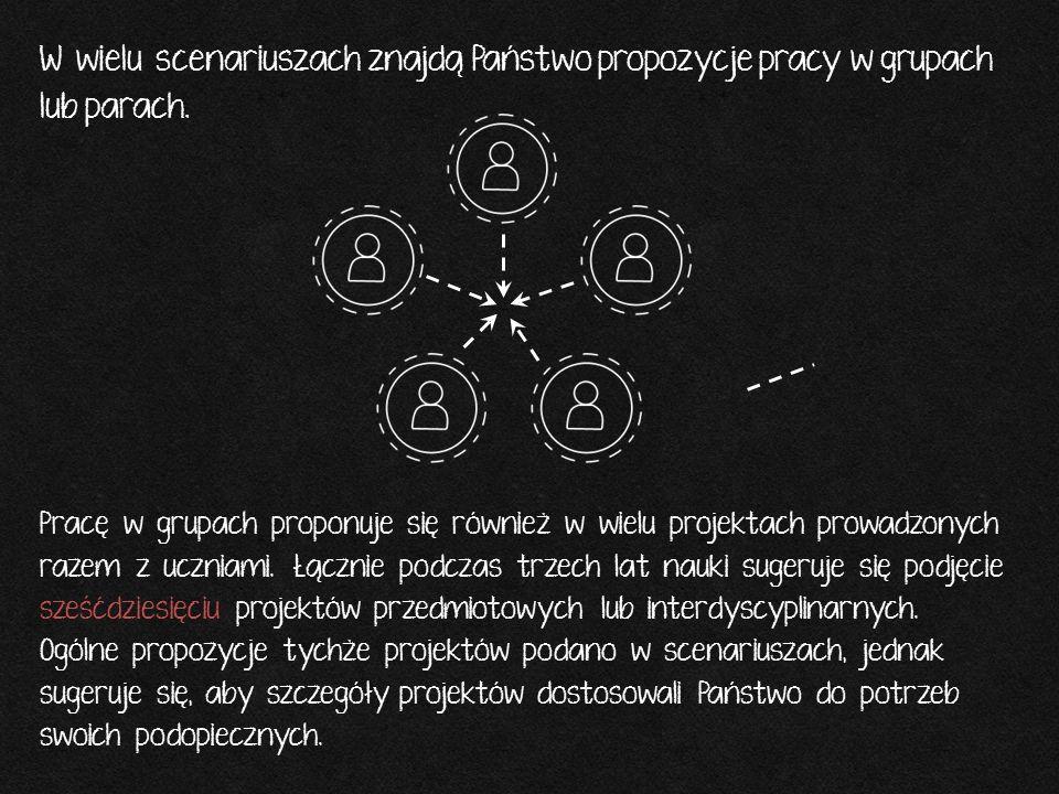 W wielu scenariuszach znajdą Państwo propozycje pracy w grupach lub parach. Pracę w grupach proponuje się również w wielu projektach prowadzonych raze