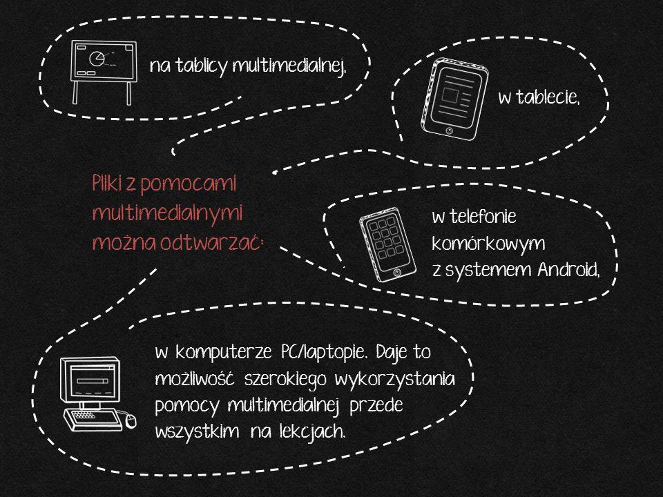 Pliki z pomocami multimedialnymi można odtwarzać: na tablicy multimedialnej, w tablecie, w telefonie komórkowym z systemem Android, w komputerze PC/la