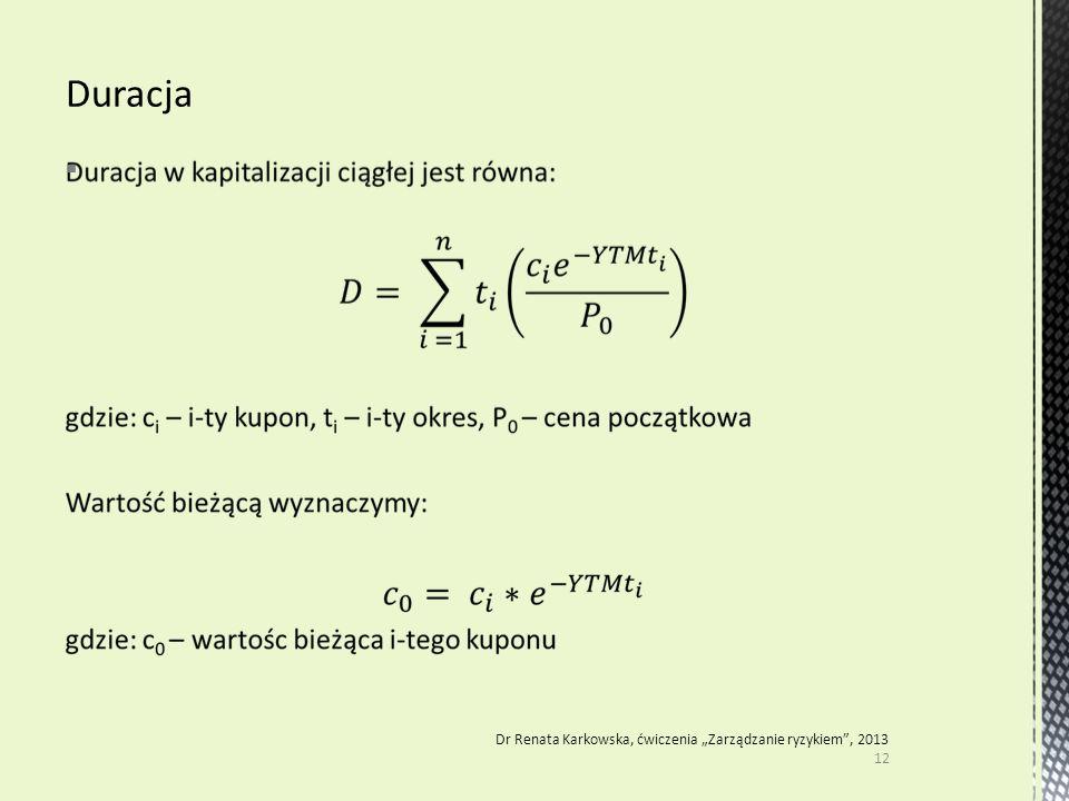 """ 12 Dr Renata Karkowska, ćwiczenia """"Zarządzanie ryzykiem"""", 2013"""