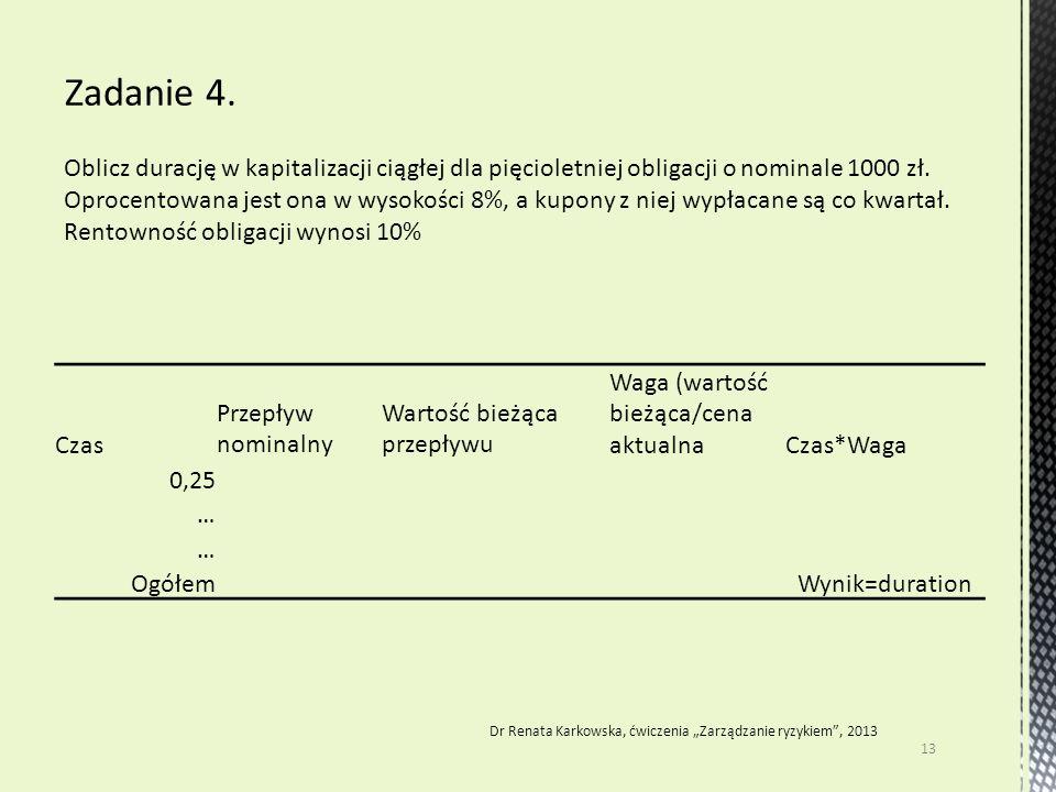 Oblicz durację w kapitalizacji ciągłej dla pięcioletniej obligacji o nominale 1000 zł. Oprocentowana jest ona w wysokości 8%, a kupony z niej wypłacan