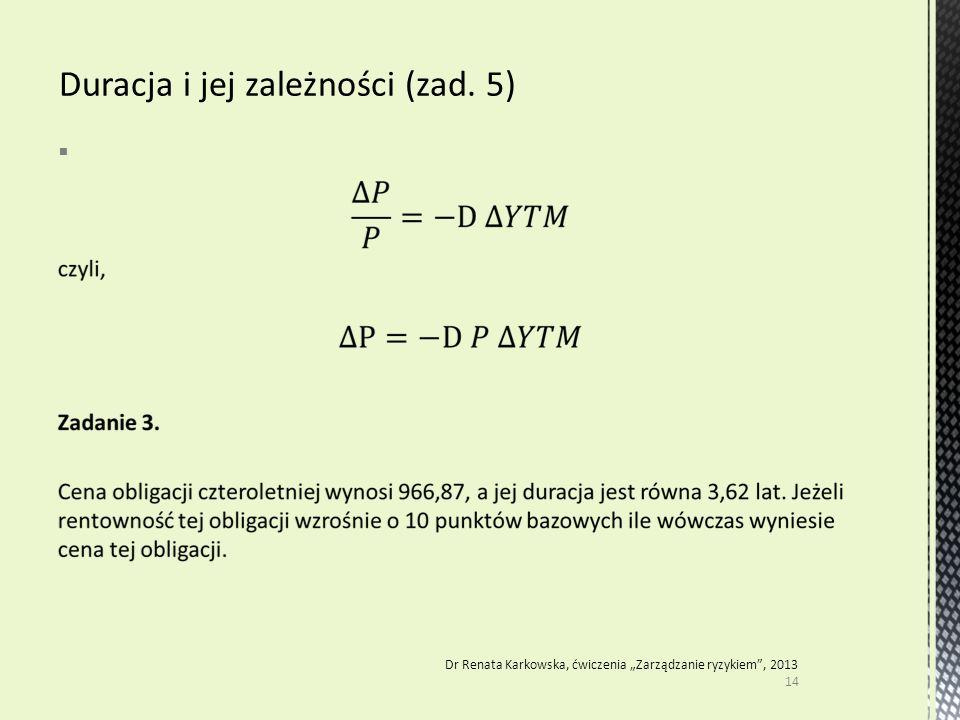 """ 14 Dr Renata Karkowska, ćwiczenia """"Zarządzanie ryzykiem"""", 2013"""