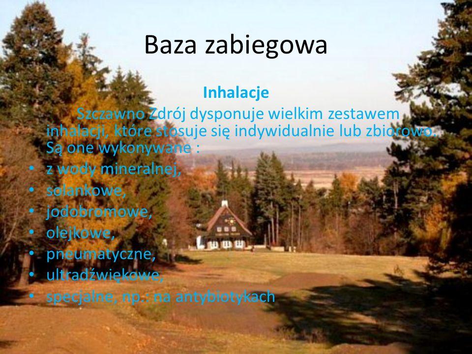 Baza zabiegowa Inhalacje Szczawno Zdrój dysponuje wielkim zestawem inhalacji, które stosuje się indywidualnie lub zbiorowo. Są one wykonywane : z wody