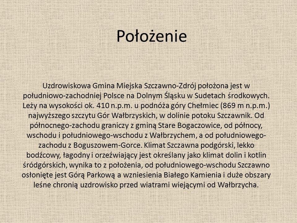 Uzdrowiskowa Gmina Miejska Szczawno-Zdrój położona jest w południowo-zachodniej Polsce na Dolnym Śląsku w Sudetach środkowych. Leży na wysokości ok. 4