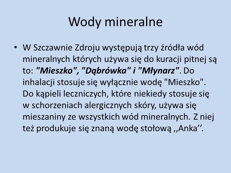 Wody mineralne W Szczawnie Zdroju występują trzy źródła wód mineralnych których używa się do kuracji pitnej są to: Mieszko , Dąbrówka i Młynarz .