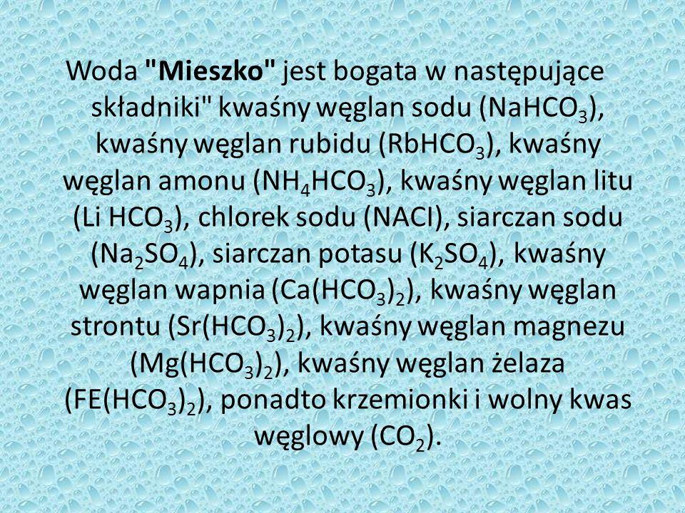 Woda Dąbrówka spośród wymienionych jonów nie zawiera kwaśnego węglanu baru, ponadto posiada mniejsze stężenie jonów Na O CI.