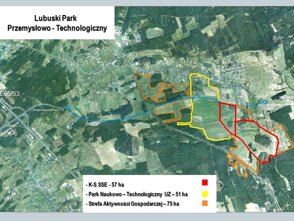 Lubuski Park Przemysłowo - Technologiczny - K-S SSE - 57 ha - Park Naukowo – Technologiczny UZ – 51 ha - Strefa Aktywności Gospodarczej – 75 ha