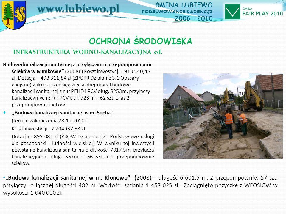 OCHRONA ŚRODOWISKA Budowa kanalizacji sanitarnej z przyłączami i przepompowniami ścieków w Minikowie (2008r.) Koszt inwestycji - 913 540,45 zł.