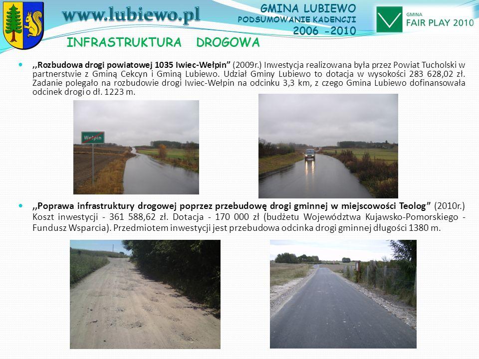 ,,Rozbudowa drogi powiatowej 1035 Iwiec-Wełpin (2009r.) Inwestycja realizowana była przez Powiat Tucholski w partnerstwie z Gminą Cekcyn i Gminą Lubiewo.
