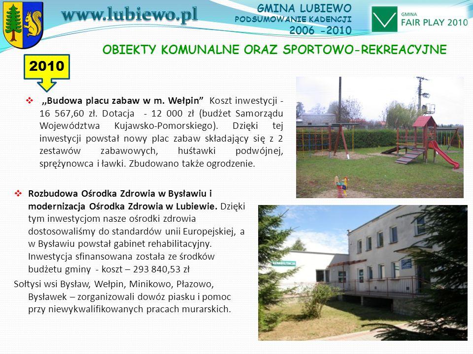 ,,Budowa placu zabaw w m. Wełpin Koszt inwestycji - 16 567,60 zł.