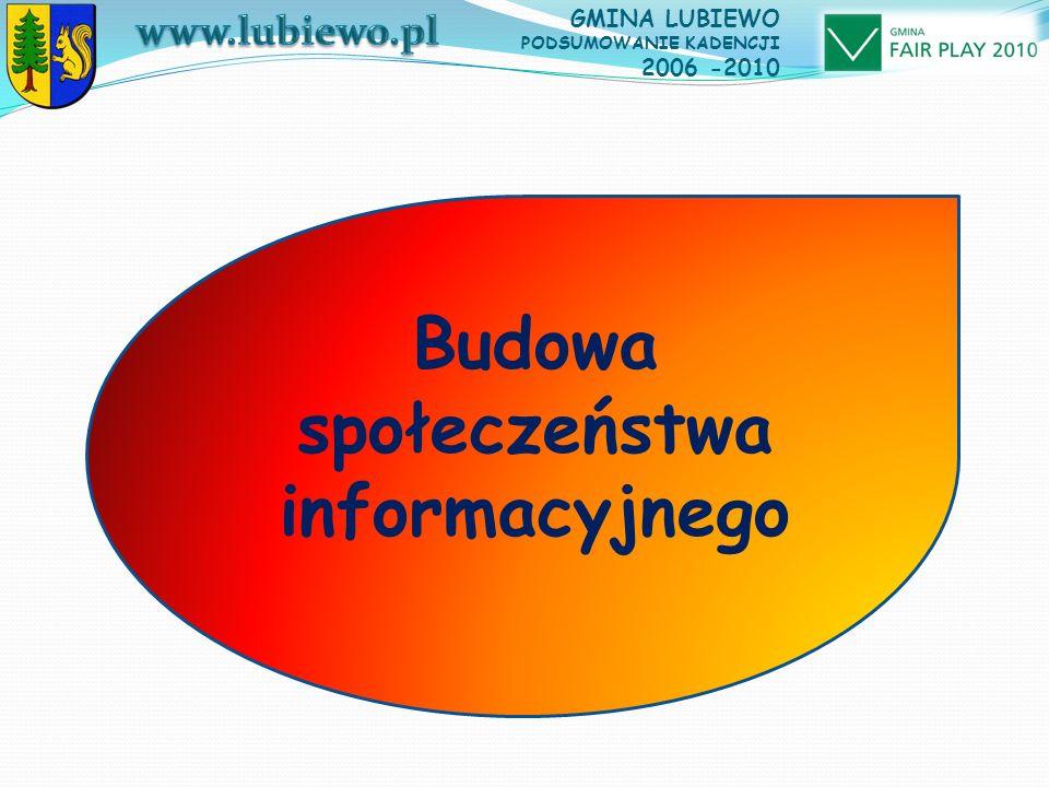GMINA LUBIEWO PODSUMOWANIE KADENCJI 2006 -2010 Budowa społeczeństwa informacyjnego