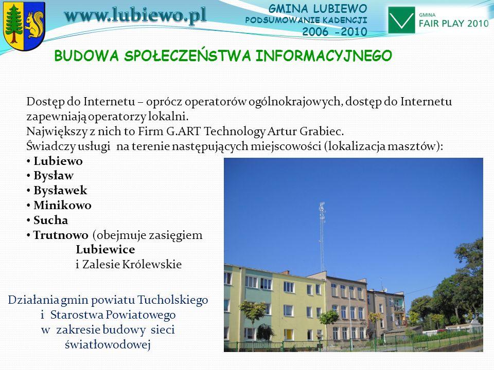 GMINA LUBIEWO PODSUMOWANIE KADENCJI 2006 -2010 Dostęp do Internetu – oprócz operatorów ogólnokrajowych, dostęp do Internetu zapewniają operatorzy lokalni.
