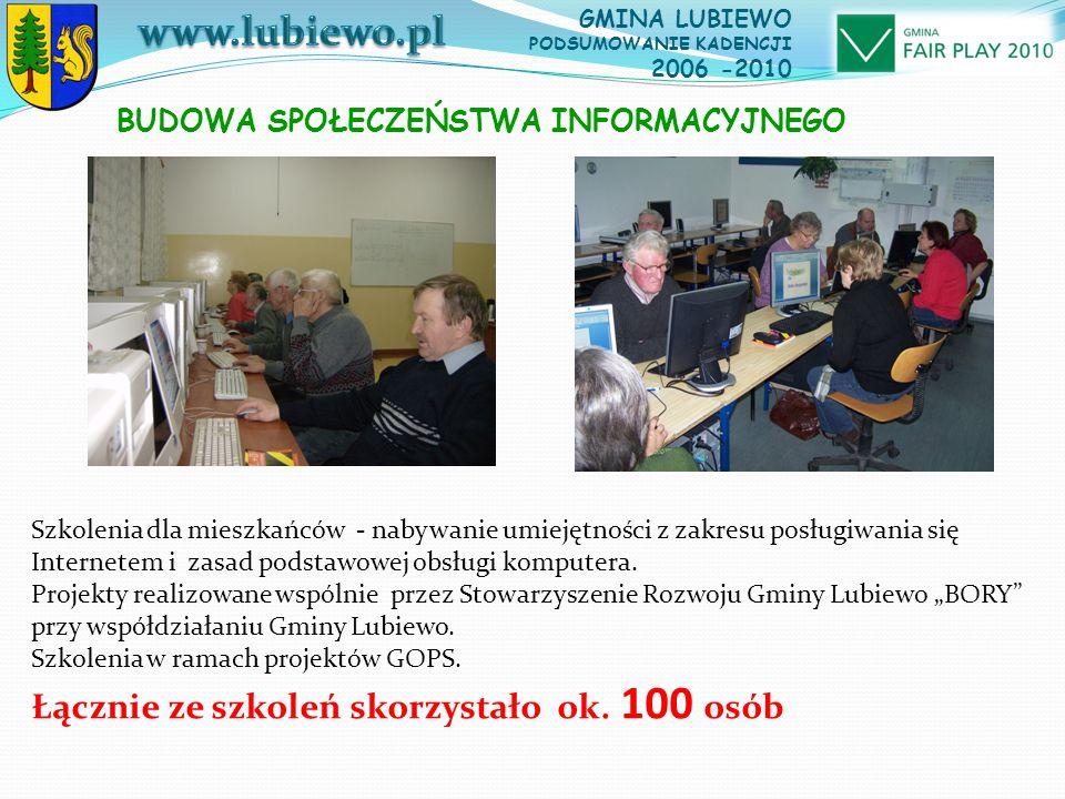 GMINA LUBIEWO PODSUMOWANIE KADENCJI 2006 -2010 Szkolenia dla mieszkańców - nabywanie umiejętności z zakresu posługiwania się Internetem i zasad podstawowej obsługi komputera.