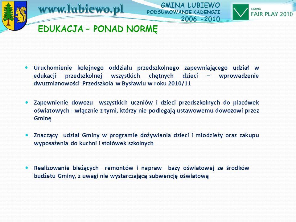 Uruchomienie kolejnego oddziału przedszkolnego zapewniającego udział w edukacji przedszkolnej wszystkich chętnych dzieci – wprowadzenie dwuzmianowości Przedszkola w Bysławiu w roku 2010/11 EDUKACJA – PONAD NORMĘ Zapewnienie dowozu wszystkich uczniów i dzieci przedszkolnych do placówek oświatowych - włącznie z tymi, którzy nie podlegają ustawowemu dowozowi przez Gminę GMINA LUBIEWO PODSUMOWANIE KADENCJI 2006 -2010 Znaczący udział Gminy w programie dożywiania dzieci i młodzieży oraz zakupu wyposażenia do kuchni i stołówek szkolnych Realizowanie bieżących remontów i napraw bazy oświatowej ze środków budżetu Gminy, z uwagi nie wystarczającą subwencję oświatową