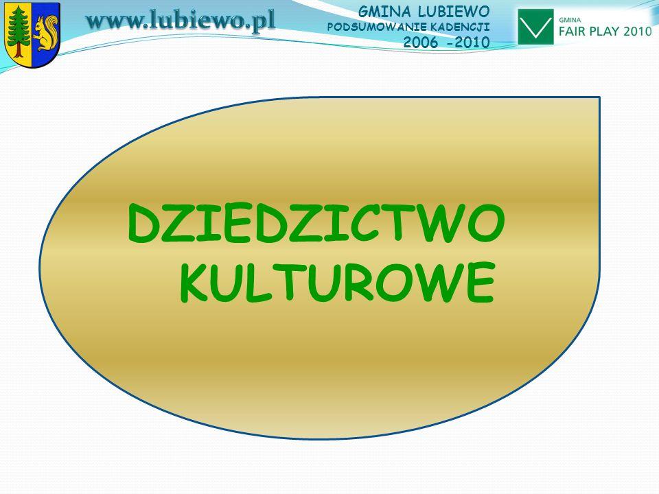 GMINA LUBIEWO PODSUMOWANIE KADENCJI 2006 -2010 DZIEDZICTWO KULTUROWE
