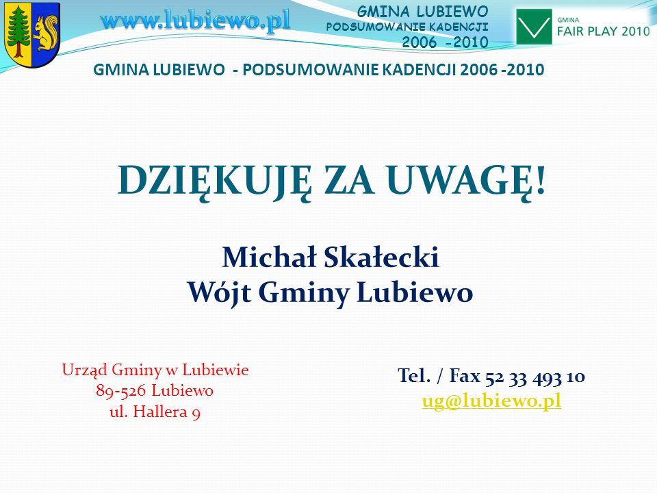 GMINA LUBIEWO - PODSUMOWANIE KADENCJI 2006 -2010 GMINA LUBIEWO PODSUMOWANIE KADENCJI 2006 -2010 Michał Skałecki Wójt Gminy Lubiewo Urząd Gminy w Lubiewie 89-526 Lubiewo ul.