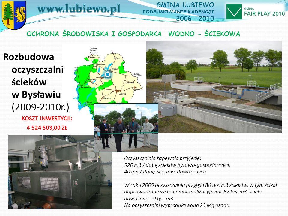 OCHRONA ŚRODOWISKA I GOSPODARKA WODNO - ŚCIEKOWA Oczyszczalnia zapewnia przyjęcie: 520 m3 / dobę ścieków bytowo-gospodarczych 40 m3 / dobę ścieków dowożonych W roku 2009 oczyszczalnia przyjęła 86 tys.