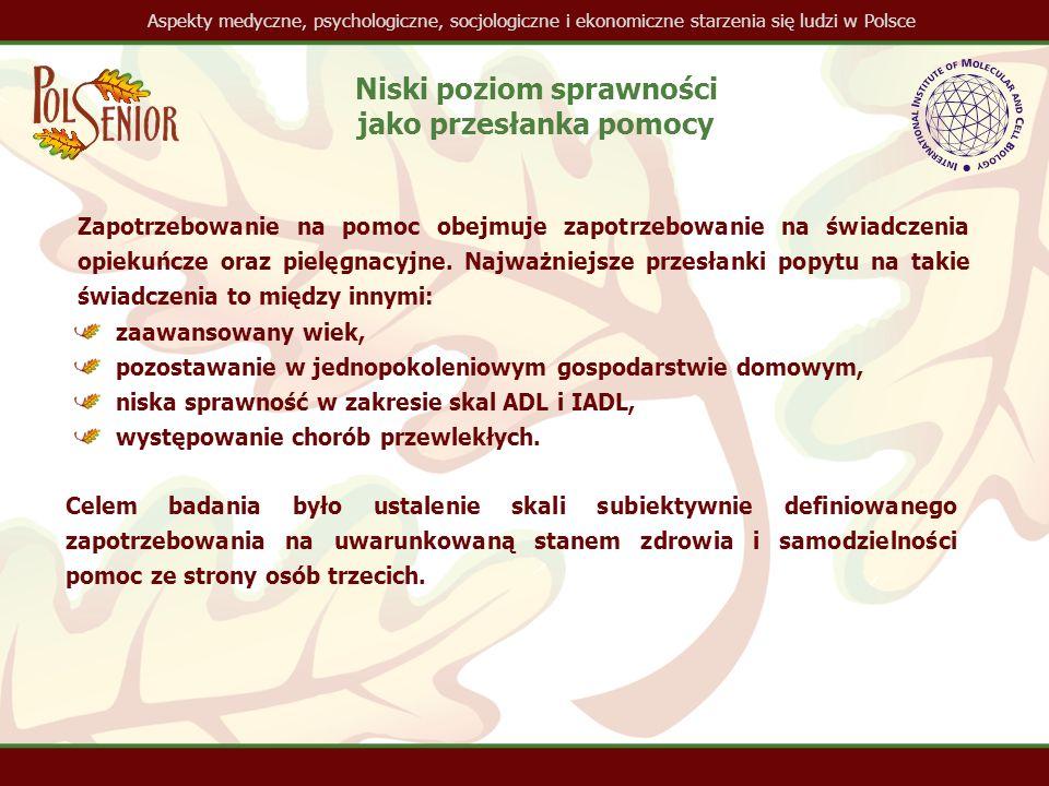 Aspekty medyczne, psychologiczne, socjologiczne i ekonomiczne starzenia się ludzi w Polsce Niski poziom sprawności jako przesłanka pomocy Zapotrzebowanie na pomoc obejmuje zapotrzebowanie na świadczenia opiekuńcze oraz pielęgnacyjne.