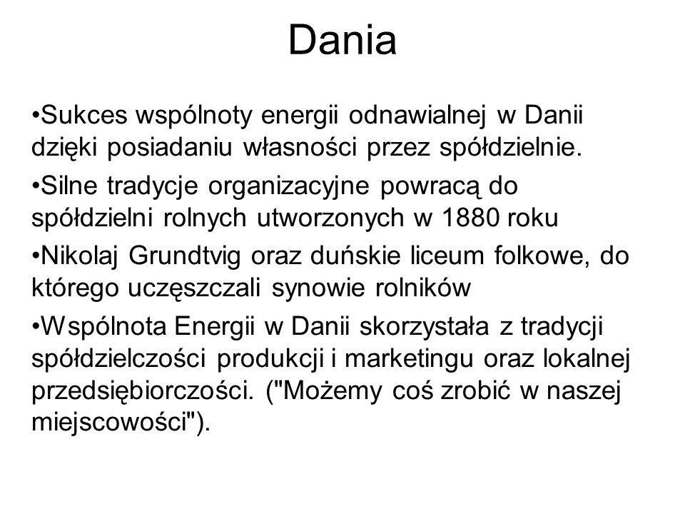 Dania Sukces wspólnoty energii odnawialnej w Danii dzięki posiadaniu własności przez spółdzielnie. Silne tradycje organizacyjne powracą do spółdzielni