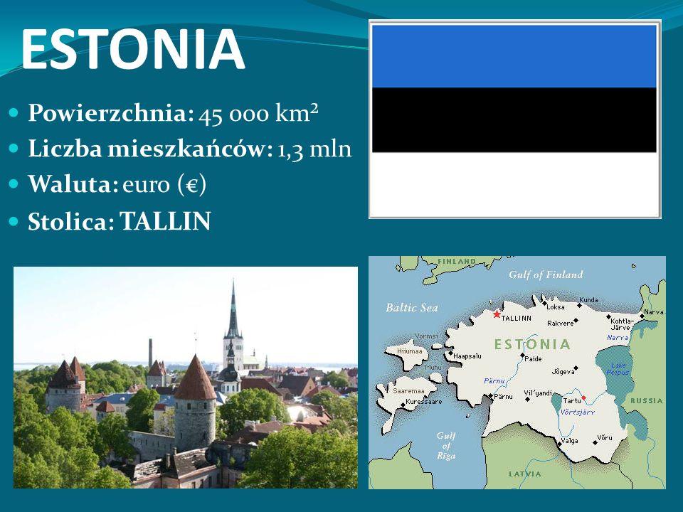 ESTONIA Powierzchnia: 45 000 km² Liczba mieszkańców: 1,3 mln Waluta: euro (€) Stolica: TALLIN
