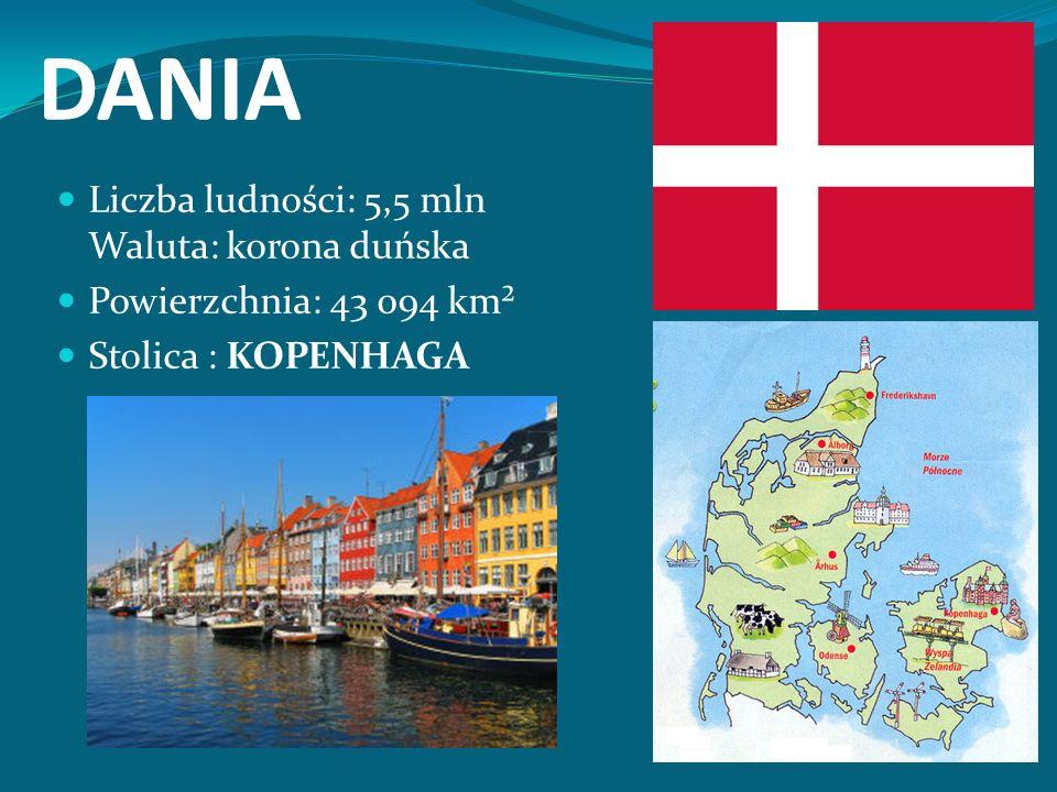DANIA Liczba ludności: 5,5 mln Waluta: korona duńska Powierzchnia: 43 094 km² Stolica : KOPENHAGA