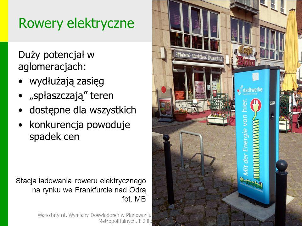 """Rowery elektryczne Duży potencjał w aglomeracjach: wydłużają zasięg """"spłaszczają teren dostępne dla wszystkich konkurencja powoduje spadek cen Warsztaty nt."""