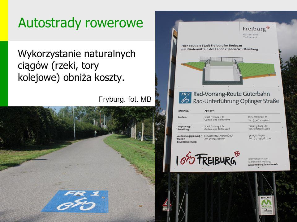 Autostrady rowerowe Wykorzystanie naturalnych ciągów (rzeki, tory kolejowe) obniża koszty.